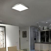 Plafonnier contemporain / carré / en verre / en laiton