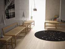 Banc de jardin / contemporain / en bois / avec dossier