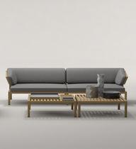 Canapé contemporain / de jardin / en bois / 3 places