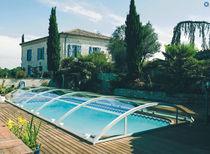 Abri de piscine bas / télescopique / en polycarbonate / motorisé