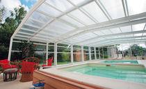 Abri de piscine haut / télescopique / d'aluminium / avec actionnement manuel