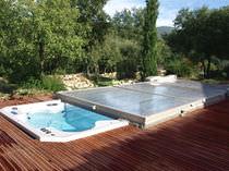 Abri de piscine plat / en polycarbonate / motorisé
