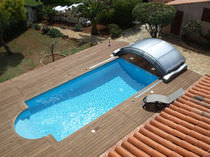 Abri de piscine bas / d'aluminium / motorisé