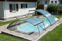 Abri de piscine bas / télescopique / d'aluminium / motorisé