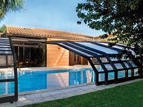 Abri de piscine adossé / coulissant / en bois / avec actionnement manuel