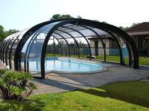 Abri de piscine haut / télescopique / en acier inoxydable / avec actionnement manuel