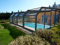 Abri de piscine adossé / télescopique / en acier inoxydable / avec actionnement manuel