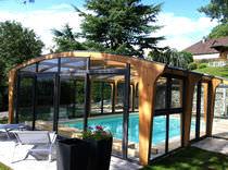 Abri de piscine haut / en bois / avec actionnement manuel