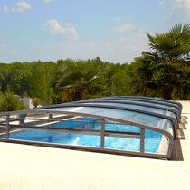 Abri de piscine bas / télescopique / en aluminium / motorisé