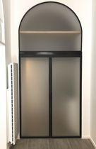 Porte d'interieur / battante / en verre / en acier