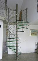Escalier en colimaçon / hélicoïdal / marche en verre / structure en acier inoxydable