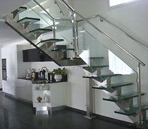 Escalier quart tournant / marche en verre / structure en acier inoxydable / sans contremarche