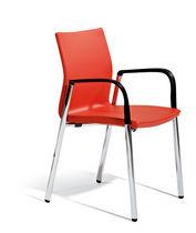 Chaise de conférence avec accoudoirs / tapissée / à roulettes / hauteur réglable