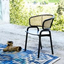 Chaise contemporaine / en contreplaqué moulé / en hêtre / en osier