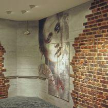 Panneau décoratif en fibre de verre / en pierre naturelle / pour aménagement extérieur / mural