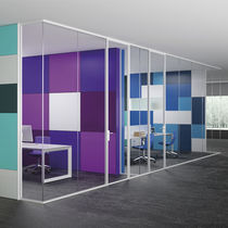 Cloison amovible / en aluminium / vitrée / de bureau