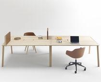Bureau poste de travail / en bois / en cuir / contemporain