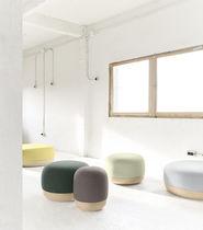 Pouf contemporain / en tissu / en cuir / en bois