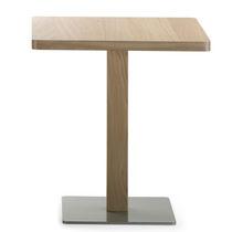 Table bistrot contemporaine / en métal / en chêne / ronde