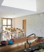 Table mange-debout contemporaine / en chêne naturel / rectangulaire / noire