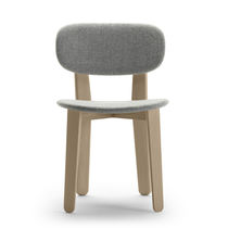 Chaise contemporaine / tapissée / en tissu / en chêne