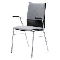 Chaise visiteur contemporaine / en contreplaqué moulé / en acier / empilable