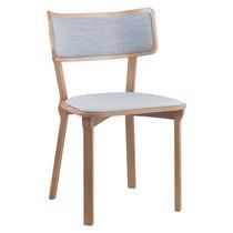 Chaise de restaurant contemporaine / tapissée / en tissu / en bois
