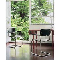 Chaise visiteur contemporaine / en tissu / en contreplaqué moulé / en acier
