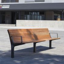Banc public / contemporain / en bois / avec dossier
