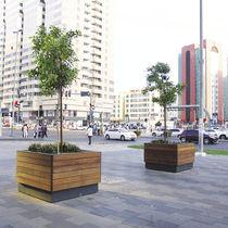 Jardinière en acier / en bois / carrée / contemporaine