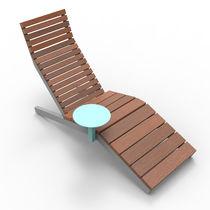 Bain de soleil contemporain / en bois massif / pour espace public