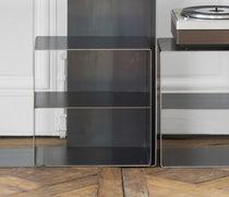 Table de chevet design industriel / en acier / en bois ciré / rectangulaire