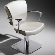 Fauteuil de coiffure en simili cuir / en aluminium / pivotant / hauteur réglable