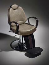 Fauteuil de barbier en acier chromé / en bois / en simili cuir / avec repose-tête
