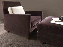 Fauteuil contemporain / en textile / marron