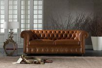 Canapé convertible / chesterfield / en cuir / 2 places