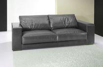Canapé contemporain / en cuir / 3 places / noir