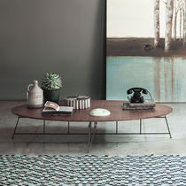 Table basse contemporaine / en bois / en acier / en bois laqué mat