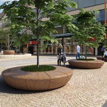 Jardinière en marbre / en pierre naturelle / ronde / avec banc intégré