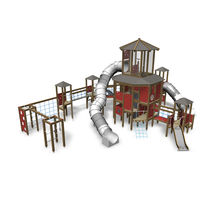 Structure de jeu en bois / en HPL / pour aire de jeux / modulaire