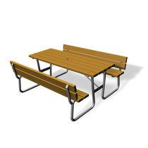 Table de pique-nique classique / en bois / rectangulaire / pour espace public
