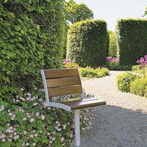 Chaise de jardin contemporaine / pivotante / en métal / en bois