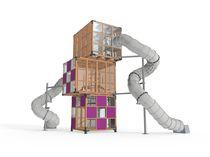 Structure de jeu en bois / pour aire de jeux / pour établissement public / modulaire
