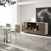 Buffet contemporain / en bois / en bois laqué / en verre