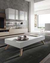 Table basse contemporaine / en bois laqué / rectangulaire / blanche