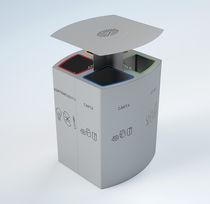 Poubelle publique / en acier / de tri sélectif / avec cendrier intégré