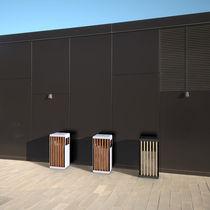 Poubelle publique / en acier / en bois / avec cendrier intégré