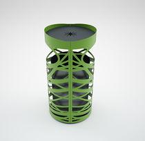 Poubelle publique / en acier / avec cendrier intégré / contemporaine