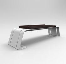 Banc public / contemporain / en bois exotique / en acier galvanisé