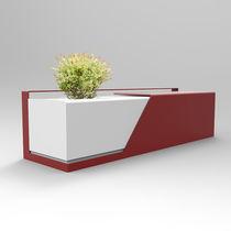 Banc public / contemporain / en acier / avec jardinière intégrée